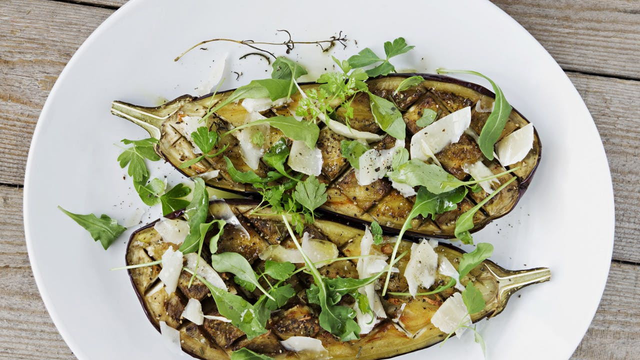 Grilled Eggplant with Fresh Chévre & Herbs