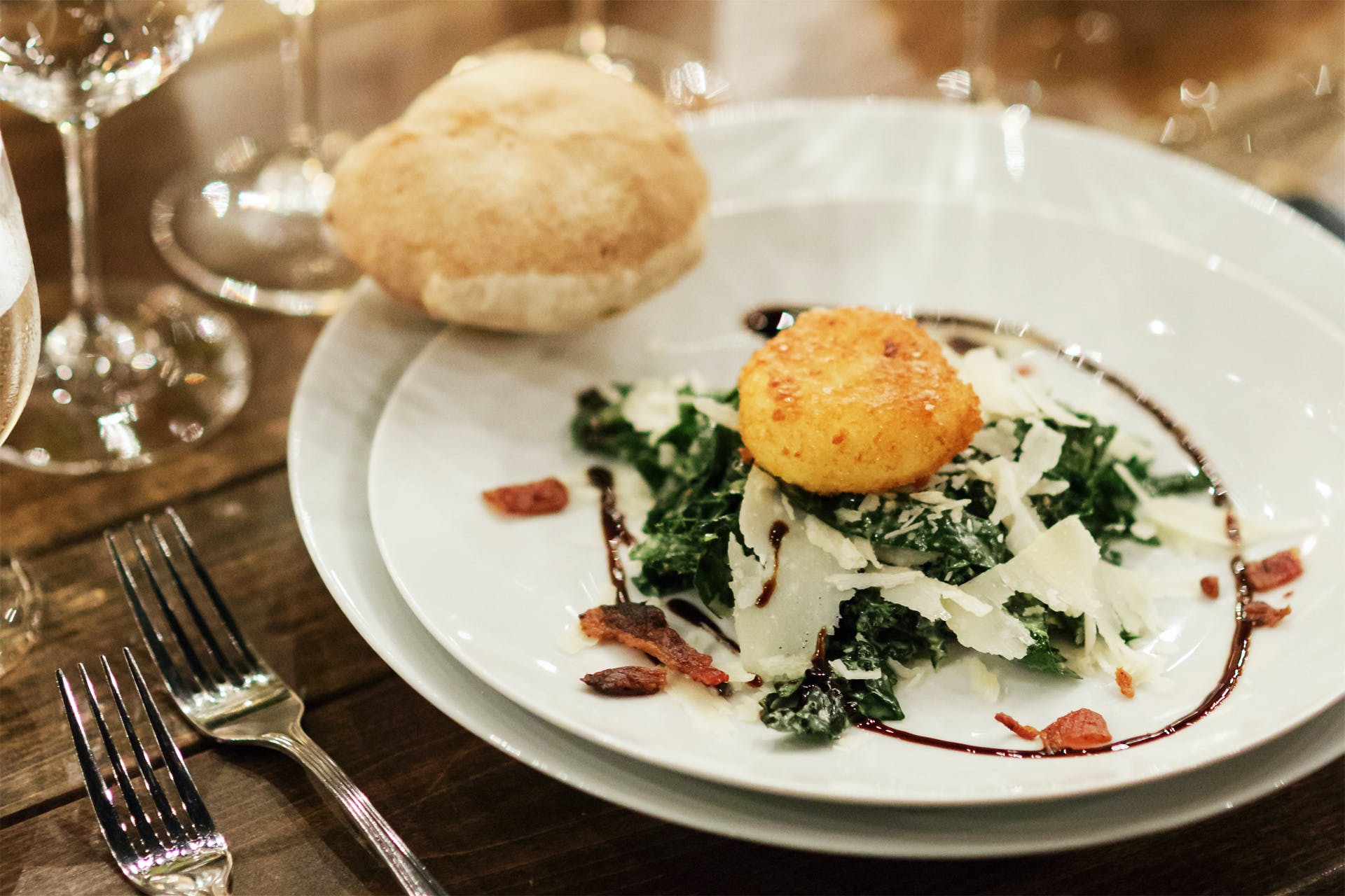 Kale Caesar Salad with Fried Poached Egg & Bacon