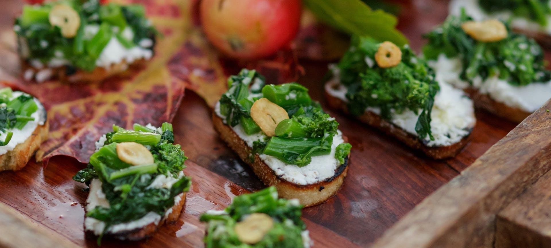 Broccoli Rabe & Goat Cheese Crostini