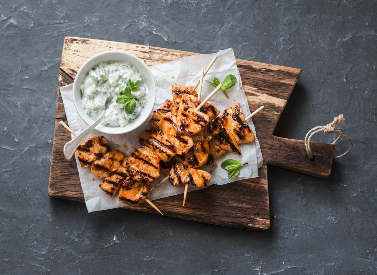 Grilled Chicken Skewers with Tzatziki Sauce Image