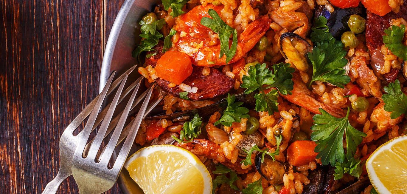 Chicken, Seafood and Chorizo Paella Image