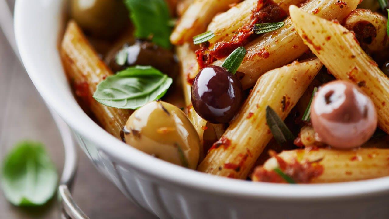 Kalamata Olive and Sundried Tomato Pesto Penne