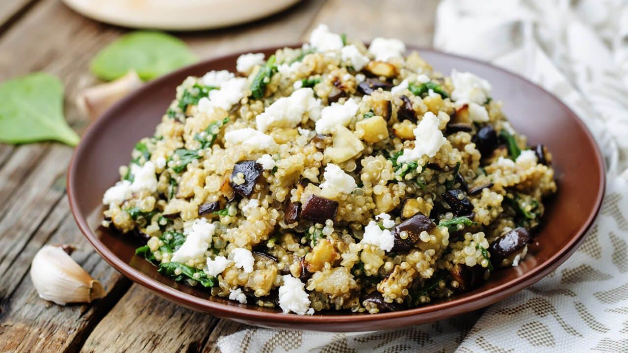 Spinach, Eggplant & Feta Quinoa Salad