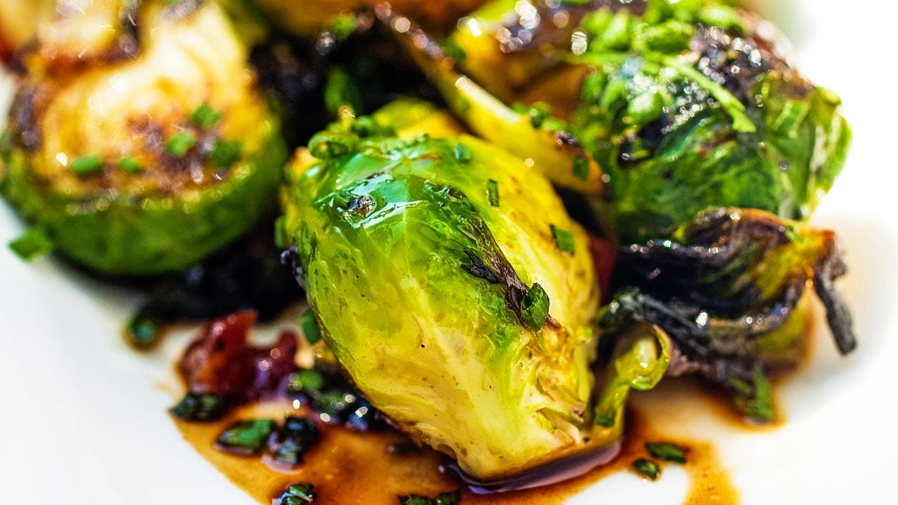 Crispy Bacon and Balsamic Brussels Sprouts Image