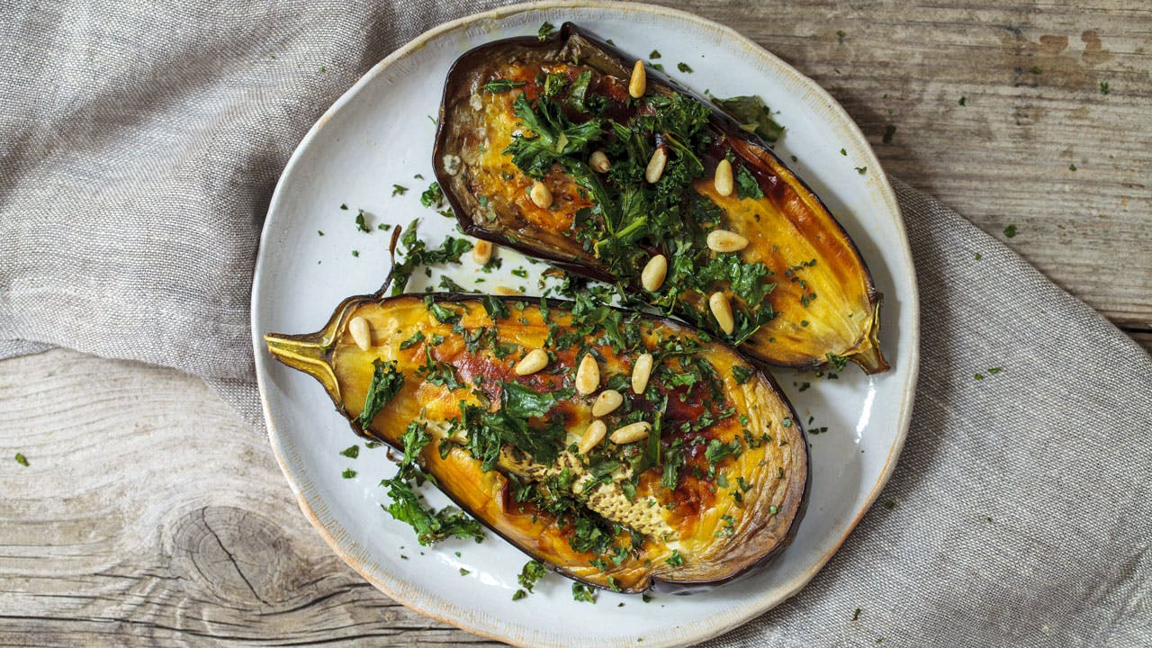 Roasted Eggplant with Kale & Pine Nuts