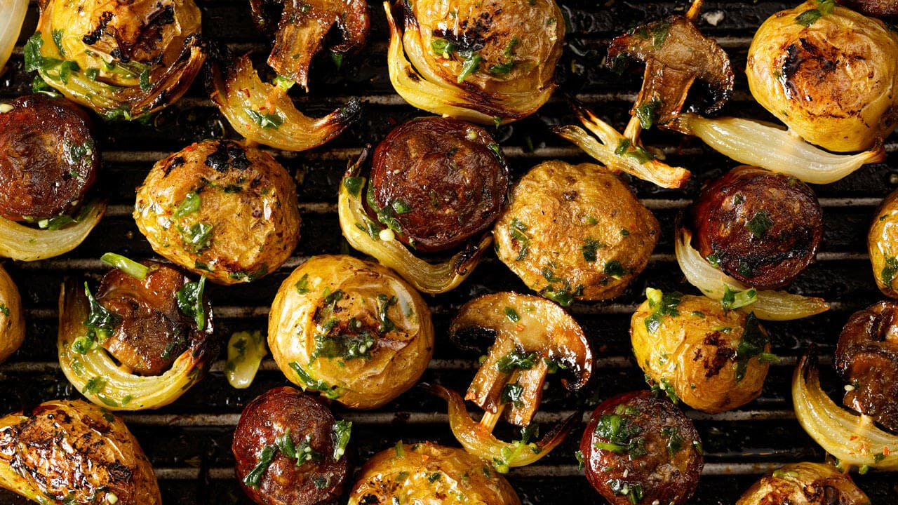 Sausage and Potato Skewers Image