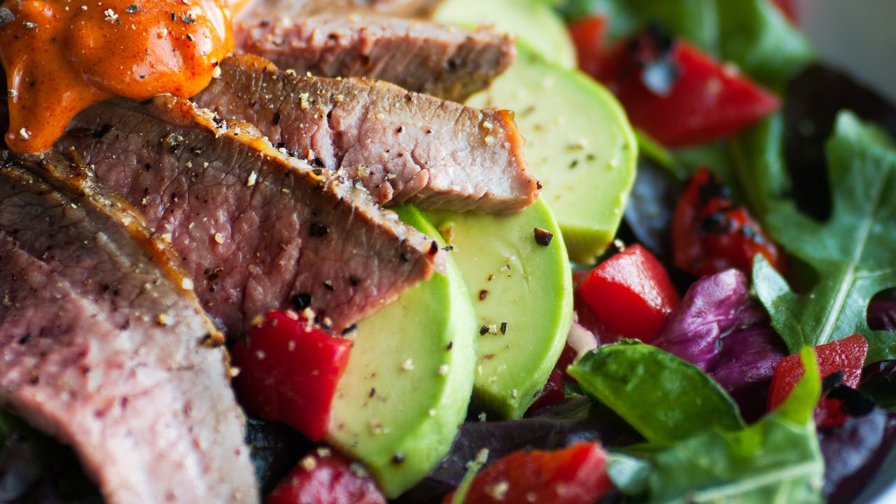 Flank Steak & Roasted Red Pepper Salad