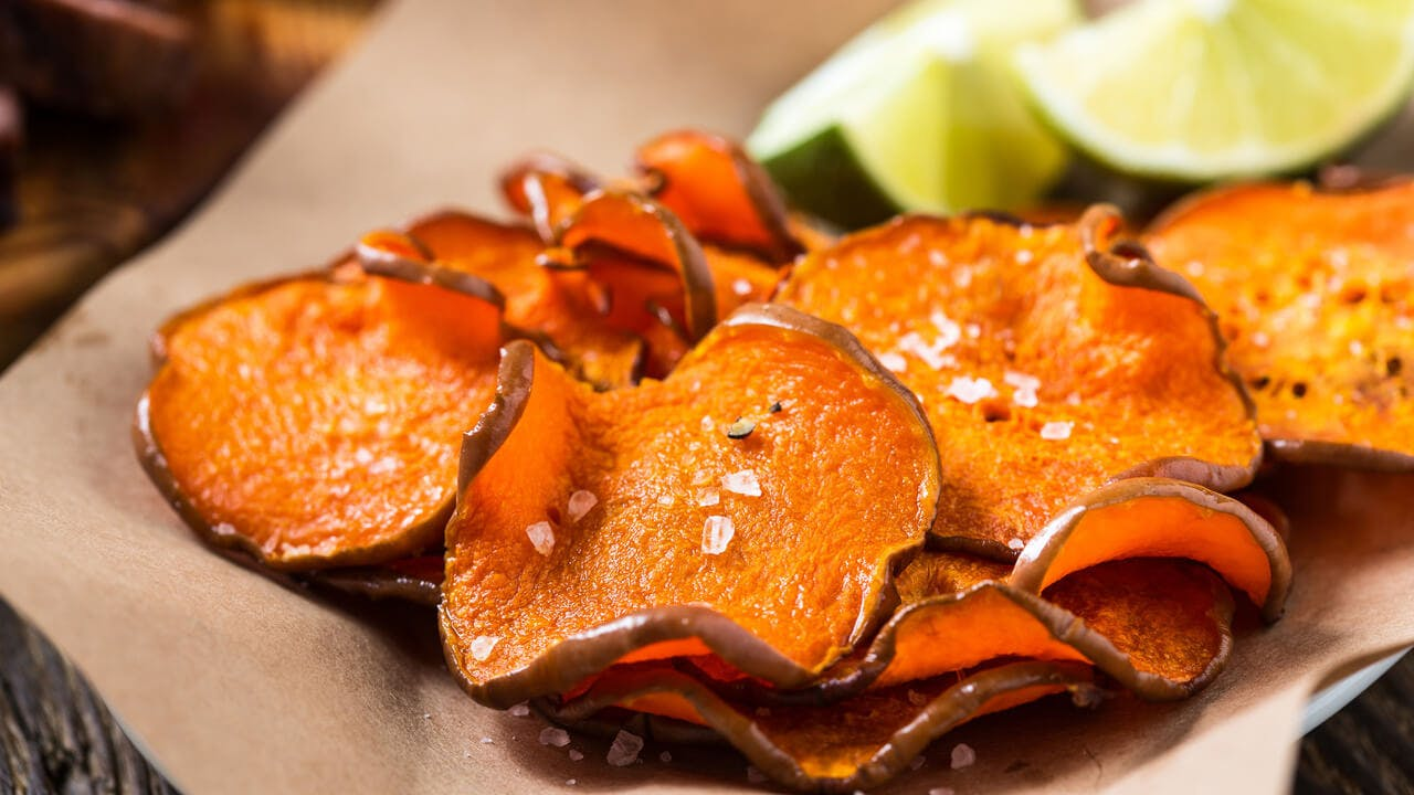Baked sweet potato chips Image