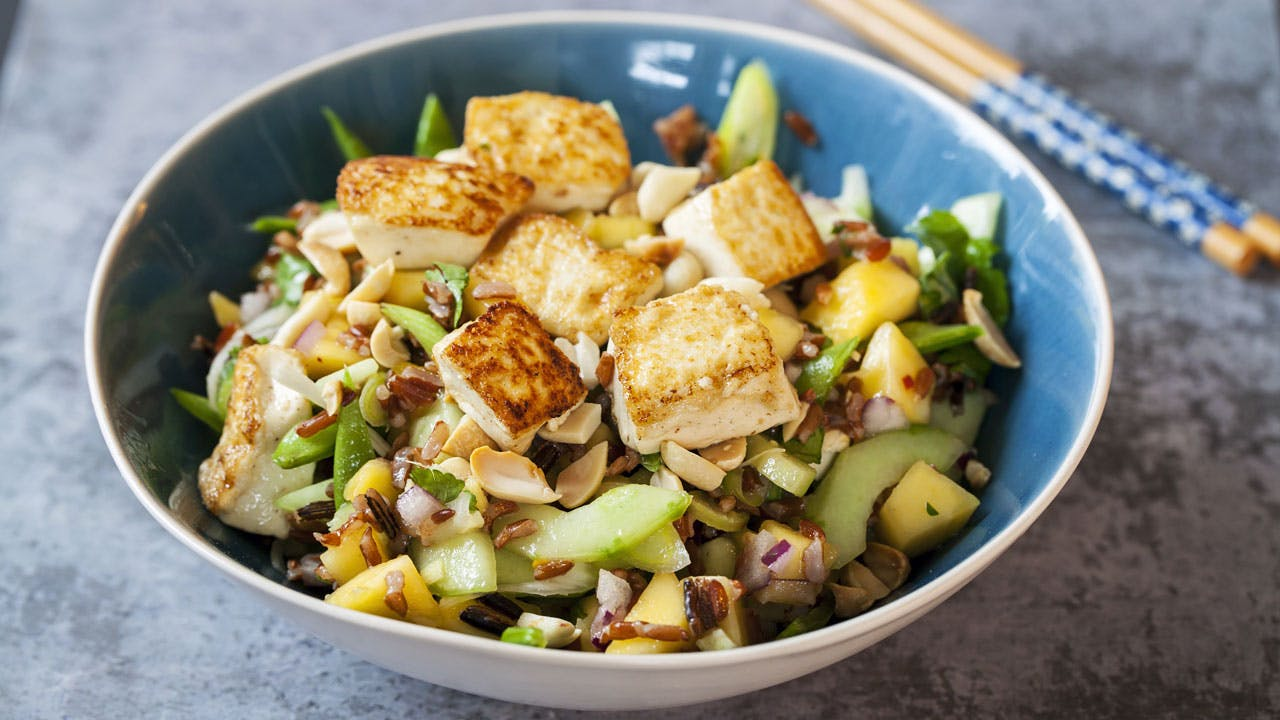 Crispy Tofu Salad with Mango & Cucumber Image