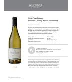 2016 Windsor Vineyards Chardonnay, Barrel Fermented, Private Reserve, Sonoma County