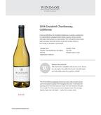 2016 Windsor Vineyards Chardonnay, Unoaked, California