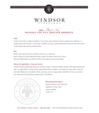 2011 Windsor Vineyards Pinot Noir, Private Reserve, Sonoma County